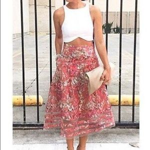 Anthropologie Midi Skirt, Pink/Red, Size 4 Petite